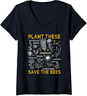 Womens Plant These Save The Bees Shirt Gifts V-Neck T-Shirt