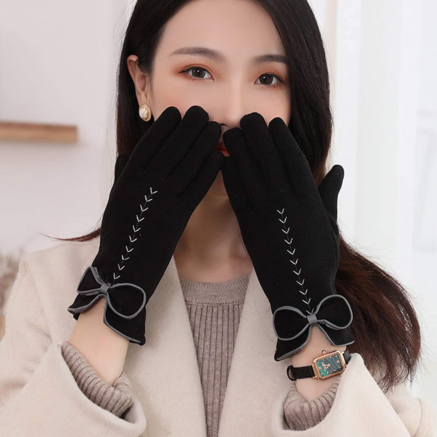 FOLDING Gloves Women's Winter Warm Gloves, with Sensitive Touch Screen for Texting Fingers, Lined with Windproof Gloves (Color : Black)