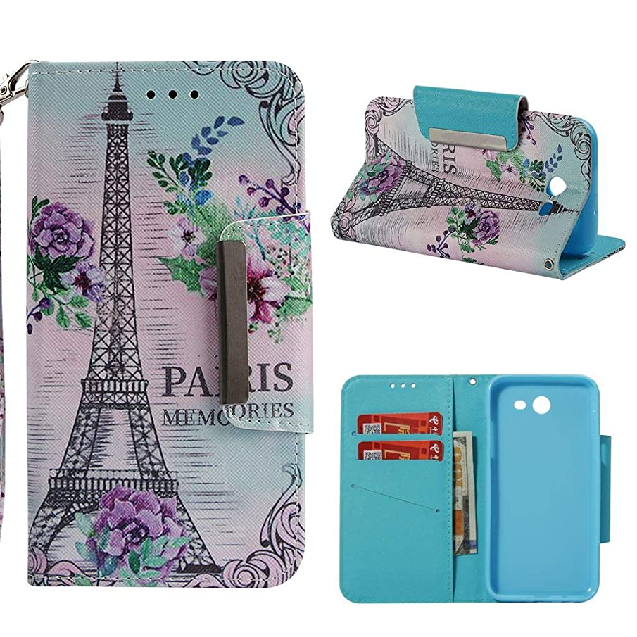 Galaxy J3 2017/J327 Case,Durable 3D Printing PU Leather Wallet Cover Shockproof Purse Case Magnetic Closure Wrist Strap Credit Card Holder for Girls for Samsung Galaxy J3 2017/J327 -Eiffel Tower
