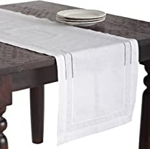 """SARO LIFESTYLE Table linen White Embroidered and Hemstitch Runner-16 x36, 16""""x36"""" Oblong"""