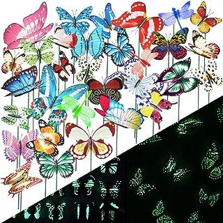 VGOODALL 50 قطعة من أوتاد الفراشة المضيئة وأوتاد اليعسوب مضيئة للحدائق، ديكورات حديقة فراشات مضادة للماء للداخل، الفناء ال...