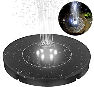 Yinuoday Solar Fountain for Bird Bath Pond Garden Decoration with LED Night Light & 4 Different Spray Pattern Heads
