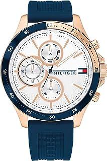 Tommy Hilfiger Mens Multi Dial Quartz Watch Bank, White, strap