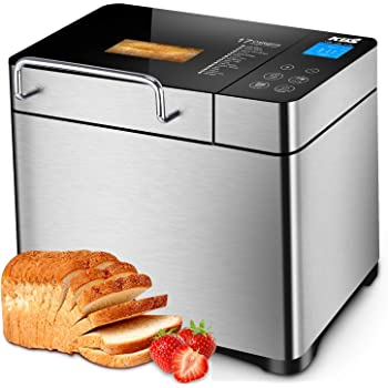 KBS Stainless Steel Bread Machine, 2LB 19-in-1 Programmable Bread Maker with Fruit Nut Dispenser, Nonstick Ceramic Pan, 3 Crust Colors & 3 Crust Colors, Reserve& Keep Warm Set, Gluten-Free Setting