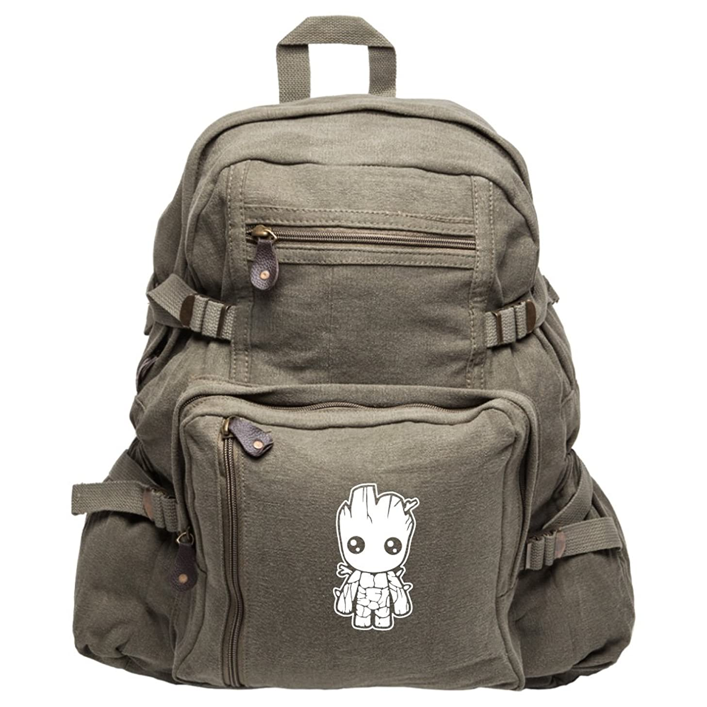 Baby Groot Guardians of the Galaxy Canvas Backpack Bag, Olive & White (Large)