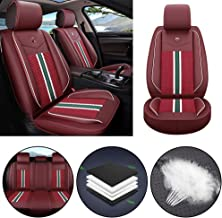 Car Seat Cover for Jaguar F-PACE E-PACE I-PACE F-Type S-Type X-Type Universal Car Seat Protectors 5-Seat Full Set Artificial Leather Waterproof,Easy Install,Lafite Red Standard