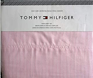 Tommy Hilfiger 4 Piece Queen Size Sheet Set Ithaca Thin Pink White Oxford Stripes