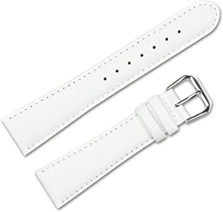 Smooth Leather Watchband White 16mm Watch Band - by deBeer