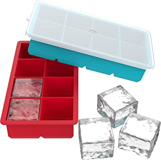 Vremi Large Silicone Ice Cube Trays - 2 Pack 8 Square Cubes per Tray Ideal for Whiskey, Cocktails, Soups, Baby Food and Frozen Treats - Flexible and BPA Free and Includes Covers for Easy Stacking