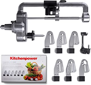 KitchenpowerUS Multifunctional Fruit Processor & Spiral Slicer Attachment with Peel, Core and Slice,6 blades