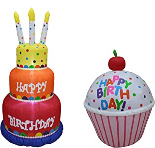 Two Birthday Party Decorations Bundle, Includes 6 Foot Tall Happy Birthday Cake Inflatable with Candles, and 4 Foot Tall Cute Happy Birthday Inflatable Cupcake with Cherry Blowup with Lights