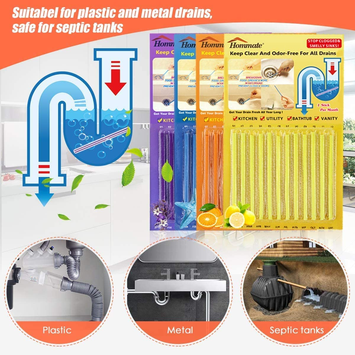 Buy Drain Sticks Drain Cleaner Sticks Drain Deodorizer Sticks For Preventing Clogs Eliminating Smelly Odor Kitchen Bathroom Sink Septic Tank Safe As Seen Online In Germany B07t885w3k