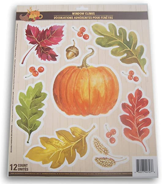 Seasonal Decor Autumn Fall Thanksgiving Themed Window Cling Set Pumpkins 12 Piece
