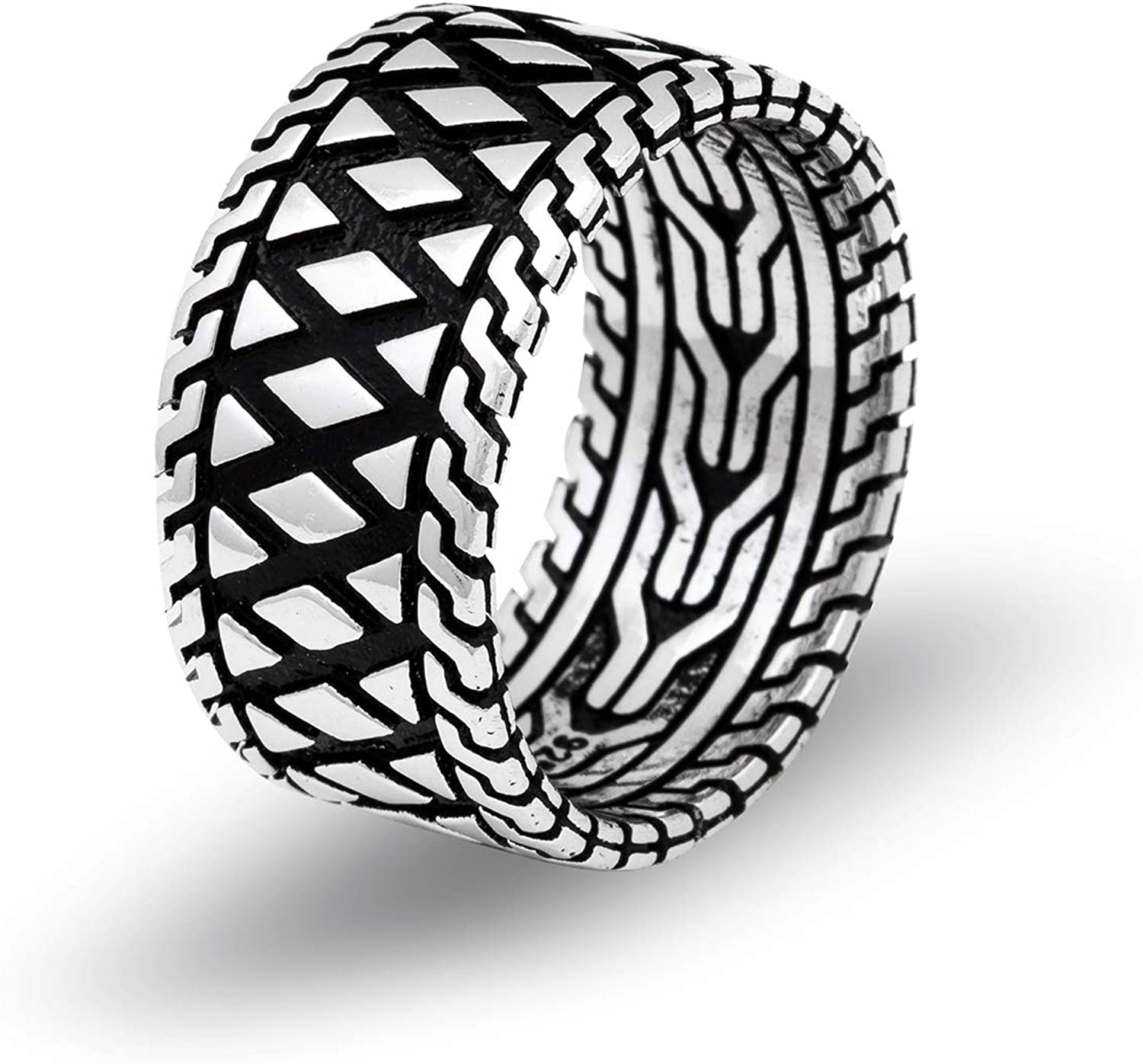 Elegant Chicotta Men's Bold Sterling Silver Band security P Zigzag Ring with