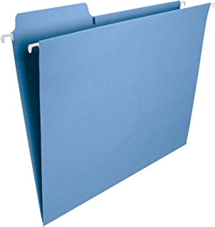 Smead FasTab Hanging File Folder, 1/3-Cut Built-in Tab, Letter Size, Blue, 20 per Box (64099)