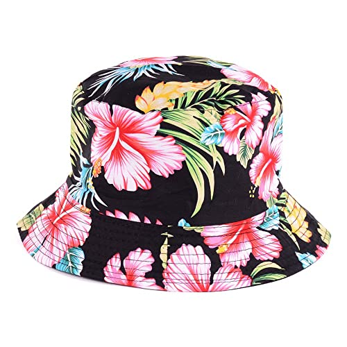 e8016d4d3fe5c Fashion Packable Reversible Black Printed Fisherman Bucket Sun Hat