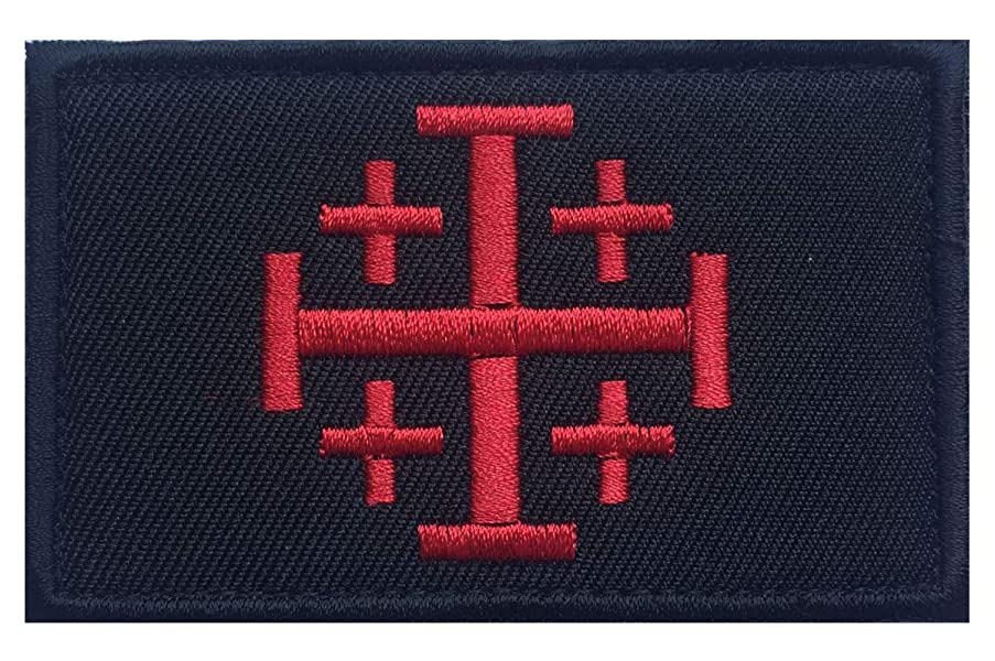 SpaceAuto Jerusalem Cross Crusader Order Holy Sepulchre Tactical Morale Cross Embroidered Patch 3.14