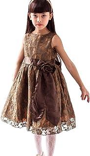Catherine Cottage 発表会 結婚式 アンティークレース ドレス ピアノ 子供ドレス PC336OP 120cm 【ローズ】カーキ[GRE]