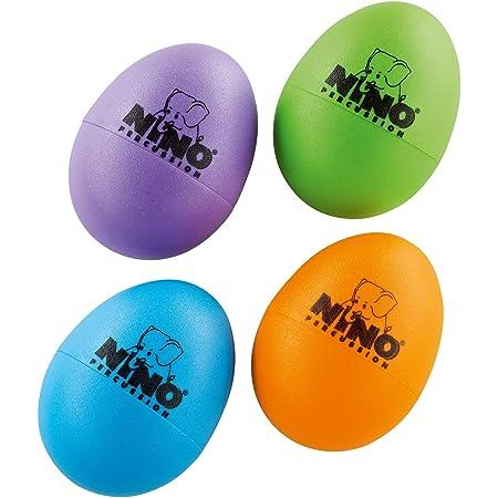 Nino Percussion NINOSET540-2 - Maracas (4 unidades), diseño de huevo, Berenjena, Verde Hierba, Naranja, Azul Cielo
