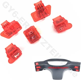 SWITCH SET- 5 PIECE- IN RED (C) SCOOTER MOPED TURN SIGNAL...