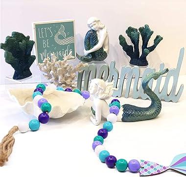 Huray Rayho Mermaid Wood Bead Garland with Jute Tassels and Mermaid Tail Hang Tag Farmhouse Boho Home Decor Tiered Tray Decor