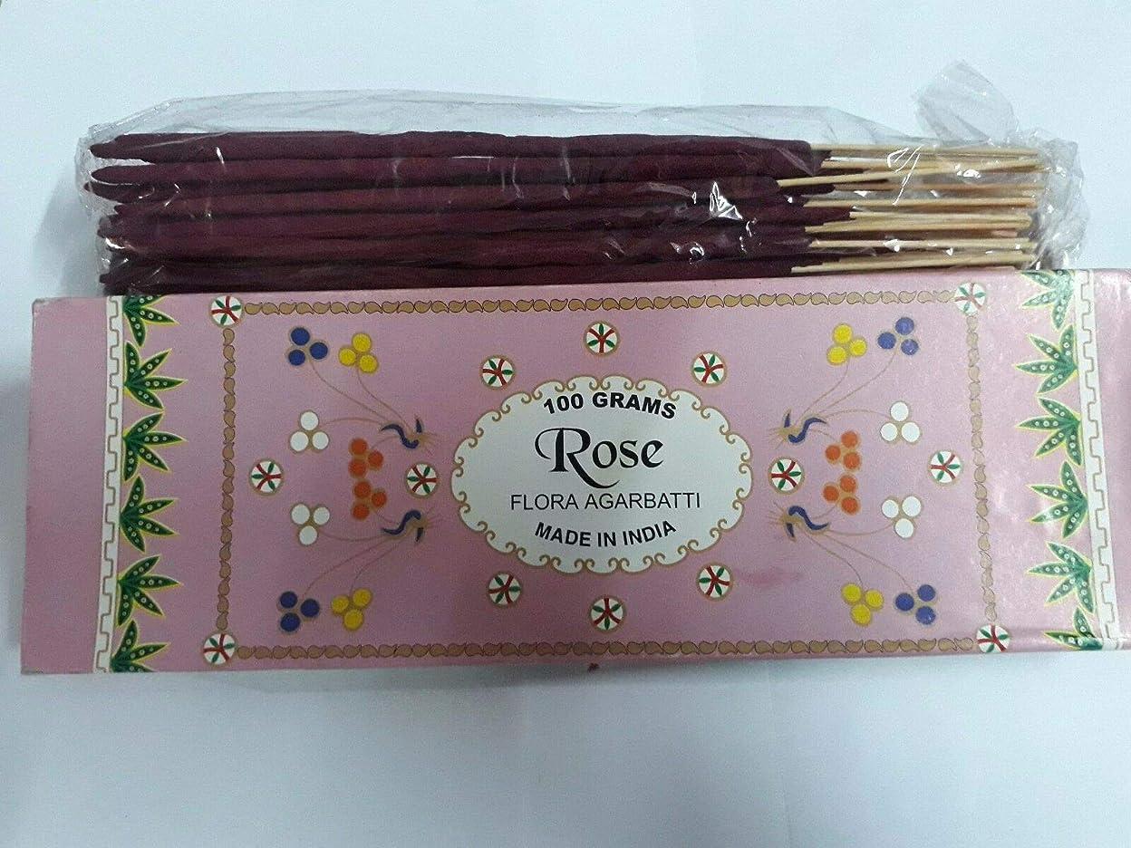 毎年農業バラバラにするRose (Gulaab) ローズ Agarbatti Incense Sticks 線香 100 grams Flora フローラ Incense Agarbatti