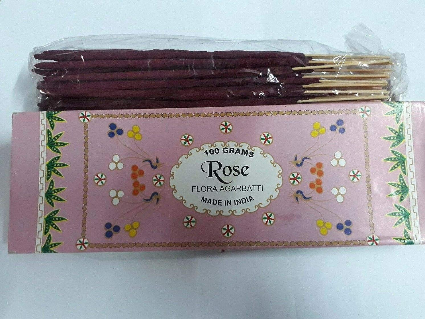 ふりをするウェイトレスのホストRose (Gulaab) ローズ Agarbatti Incense Sticks 線香 100 grams Flora フローラ Incense Agarbatti
