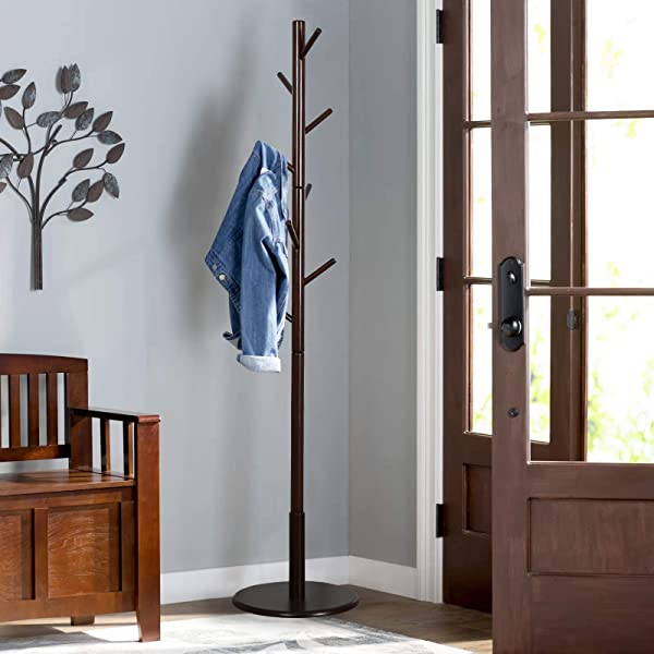 Vlush Sturdy Wooden Coat Rack Stand Entryway Hall Tree Coat Tree With Solid Round Base For Hat Clothes Purse Scarves Handbags Umbrella 8 Hooks Dark Brown
