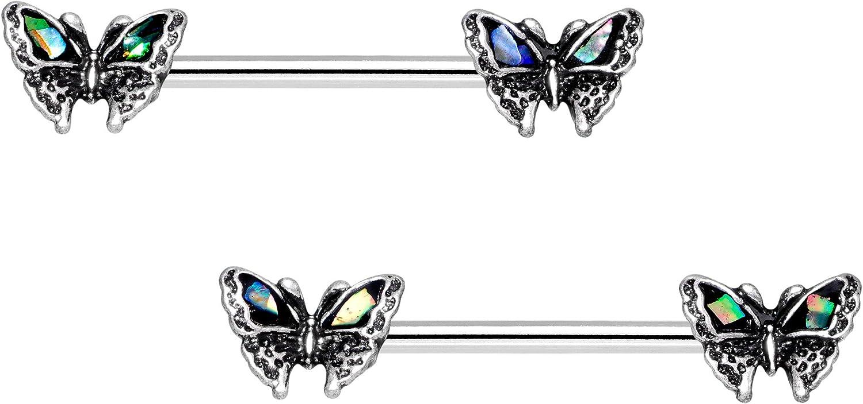 Body Candy Nipplerings Piercing Women 14G Stainless Steel 2Pc Summer Butterfy Nipple Ring Set 14mm
