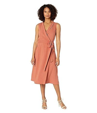 American Rose Bella Collared Wrap Dress (Clay) Women