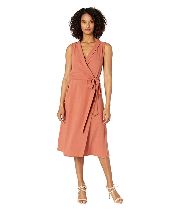 American Rose Bella Collared Wrap Dress (Clay) Women