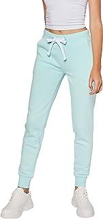 esstive Women's Ultra Soft Fleece Basic Midweight Casual Solid Jogger Pants, Mint, X-Large