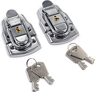 Karcy Handbag Lock Clasp Suitcase Hasp Catch Latch with Keys Photography Box Lock Toggle Hasp Lock for Suitcase Briefcase Pack of 2 Metal Silver Tone with Mounting Screws 3
