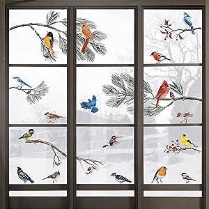 Yovkky Winter Bird Pine Branch Window Cling 9 Sheets, Cardinal Bullfinch Chickadee Robin Glass Sticker Decal Snowy Holiday Berry Decor Home Kitchen Office Fridge Decoration Kid DIY Supply Double Sided