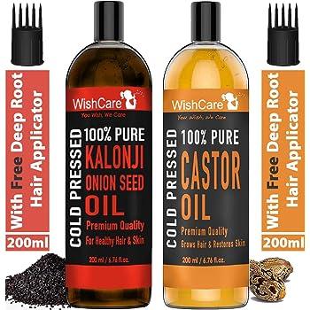 WishCare® 100% Pure Cold Pressed Castor Oil & Kalonji Oil - 200Ml Each