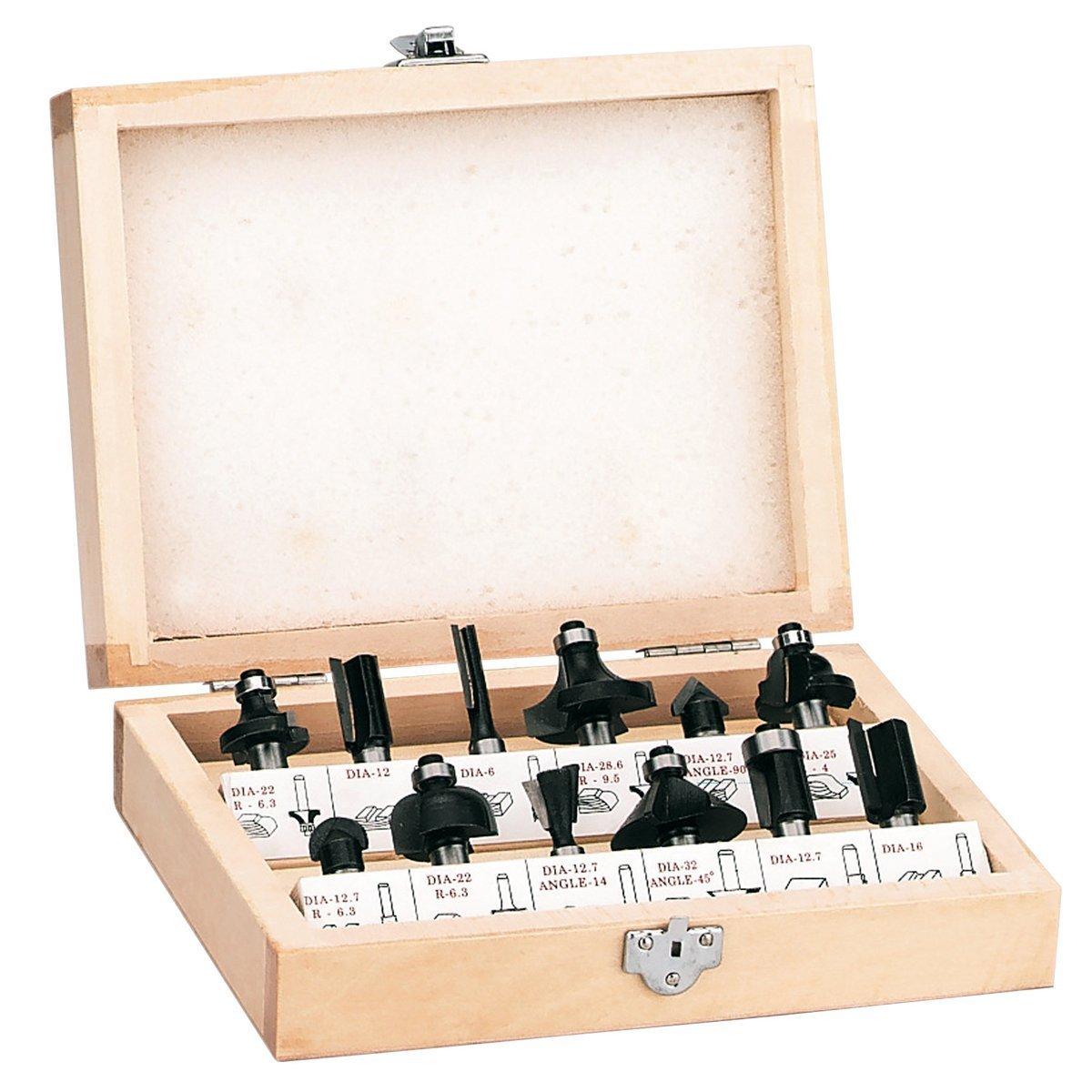 Einhell 4350199 RT-RO 55 / BT-RO 1200 E - Pack de 12 fresas para madera, 8 mm, color negro: Amazon.es: Bricolaje y herramientas