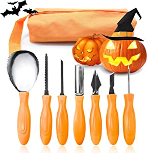 Halloween Pumpkin Carving Kit 7 Pcs,Stainless Steel Pumpkin Carving Tools Professional Pumpkin Carving Tools Set with Carrying Bag and 10 Pattern Paper,Sturdy Sculpting Jack-O-Lantern Knife Set
