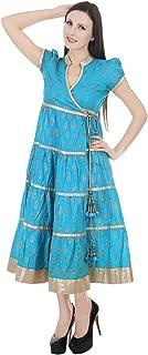 Devaleena Creations Blue-Gold-Prntd-Ank-Krta