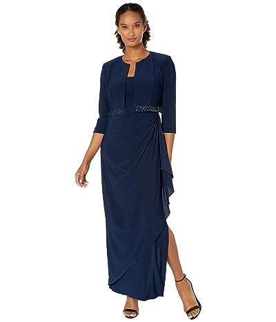 Alex Evenings Long Bolero Jacket Dress with Beaded Fringe Detail Jacket (Navy) Women