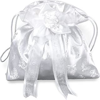 Girls First Communion White Purse with Bow and Cord Closure, 8 1/2 Inch