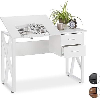 Relaxdays Schreibtisch neigbar, verstellbare Arbeitsfläche, Laptoptisch oder Zeichentisch, HBT 75x110x55cm, weiß