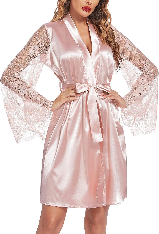 Avidlove Women's Satin Kimono Robe for Bridesmaid and Bride Wedding Party Getting Ready Short Robe