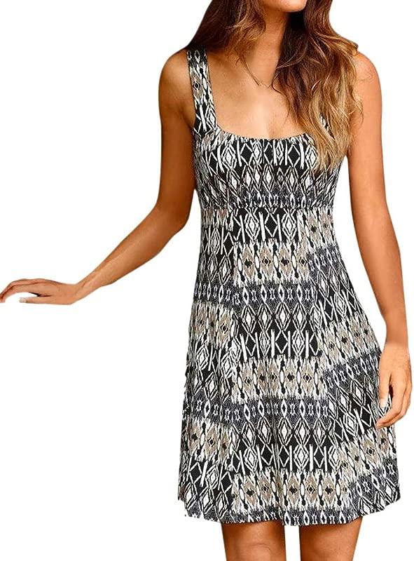 Alangbudu Women Summer Casual T Shirt Dresses Beach Cover Up Plain Pleated Tank Dress Skater Dress Knee Length