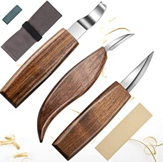 SibyTech - Juego de cuchillos 5 en 1 para tallar madera, incluye cuchillo de gancho, cuchillo blanqueador, cuchillo de detalle, afilador de cuchillos para cuchara, tazón, taza Kuksa carpintería