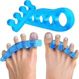 Toe Separators for Overlapping Toes - Hammer and Crooked Toe Straighteners - Stretchers Spacers for Pedicure - 2 Pairs - O...