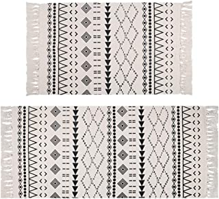 Pauwer Cotton Area Rug Set 2 Piece Machine Washable Printed Cotton Rugs with Tassel Hand Woven Cotton Rug Runner for Kitch...