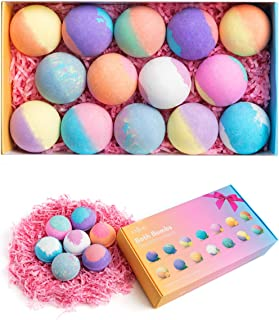 Bath Bombs, Anjou 14PCS Bath Bomb Gift Set with Vegan Natural Essential Oils & Coconut Oil & Shea Butter, Perfect for Mois...