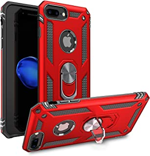 Shockproof Kickstand Phone Case Compatible for [ iPhone 6 Plus & Iphone 6S Plus Case ] [Shock Absorption] 12 ft. Drop Tested Protective Red Bumper Rubber Cover for Iphone 6 / 6s Plus(red-IP 6P)