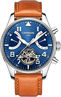 Men Automatic Mechanical Watch Tourbillon Blue Dial Brown Leather Band Day Week Waterproof Watches