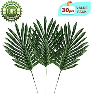 LASPERAL 30 Pcs Artificial Palm Leaves with Stem Faux Tropical Large Palm Plant Imitation Ferns Branches Green Greenery Plants for Home Kitchen Party Wedding Decorations Hawaiian Luau Party Supplies